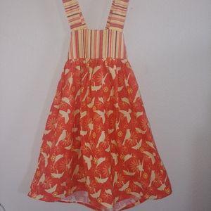 Handmade girls bow back bird print stripes dress